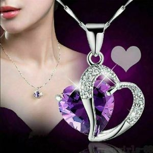 925 Silver Chain Crystal Heart Pendant Necklace